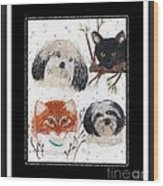 Polka Dot Family Pets With Borders - Whimsical Art Wood Print