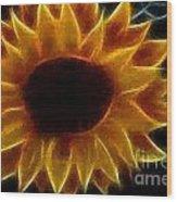 Polka Dot Glowing Sunflower Wood Print