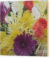 Polka Dot Mums And Carnations Wood Print