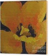Polka Dot Yellow Blooming Tulip Wood Print