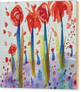 Pollinating Poppies Wood Print