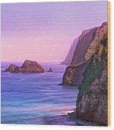 Pololu Valley Sunset Wood Print