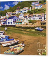 Polperro At Low Tide Wood Print