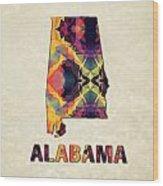 Polygon Mosaic Parchment Map Alabama Wood Print