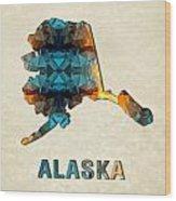 Polygon Mosaic Parchment Map Alaska Wood Print