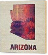 Polygon Mosaic Parchment Map Arizona Wood Print