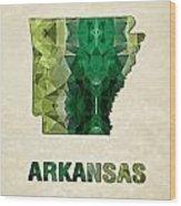 Polygon Mosaic Parchment Map Arkansas Wood Print