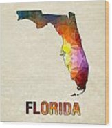 Polygon Mosaic Parchment Map Florida Wood Print
