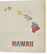 Polygon Mosaic Parchment Map Hawaii Wood Print