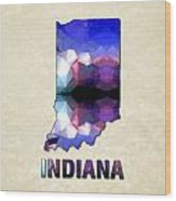 Polygon Mosaic Parchment Map Indiana Wood Print