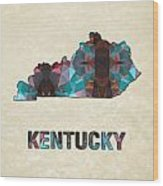 Polygon Mosaic Parchment Map Kentucky Wood Print