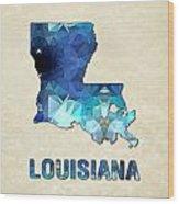 Polygon Mosaic Parchment Map Louisiana Wood Print