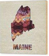 Polygon Mosaic Parchment Map Maine Wood Print
