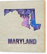 Polygon Mosaic Parchment Map Maryland Wood Print