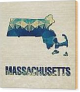 Polygon Mosaic Parchment Map Massachusetts Wood Print