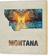 Polygon Mosaic Parchment Map Montana Wood Print