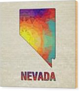 Polygon Mosaic Parchment Map Nevada Wood Print