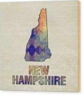 Polygon Mosaic Parchment Map New Hampshire Wood Print