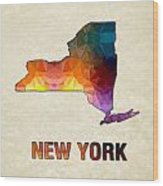 Polygon Mosaic Parchment Map New York Wood Print