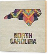Polygon Mosaic Parchment Map North Carolina Wood Print