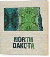 Polygon Mosaic Parchment Map North Dakota Wood Print
