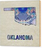 Polygon Mosaic Parchment Map Oklahoma Wood Print