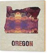 Polygon Mosaic Parchment Map Oregon Wood Print