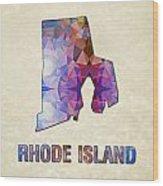 Polygon Mosaic Parchment Map Rhode Island Wood Print