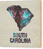 Polygon Mosaic Parchment Map South Carolina Wood Print