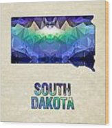 Polygon Mosaic Parchment Map South Dakota Wood Print