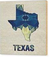 Polygon Mosaic Parchment Map Texas Wood Print