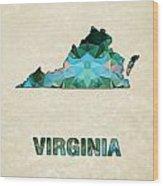 Polygon Mosaic Parchment Map Virginia Wood Print