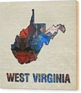 Polygon Mosaic Parchment Map West Virginia Wood Print