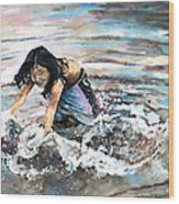 Polynesian Child Playing With Water Wood Print