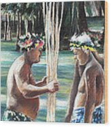 Polynesian Men With Spears Wood Print
