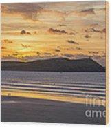 Polzeath Sunset 4 Wood Print