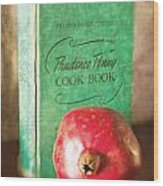 Pomegranate And Vintage Cook Book Still Life Wood Print
