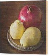 Pomegranate And Yellow Pear Still Life Wood Print