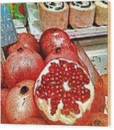 Pomegranates In Open Market Wood Print