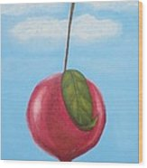 Pomegranate Sky-large Red Fruit With Big Green Leaf Wood Print