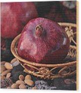 Pomegranates And Almonds Wood Print