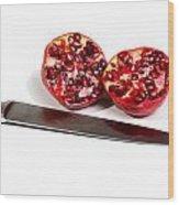 Pomegranates And Knife Wood Print