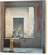 Pompeii Courtyard Wood Print