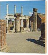 Pompeii In Ruins Wood Print