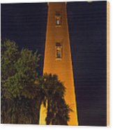 Ponce Inlet Lighthouse And Moon Wood Print