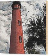 Ponce Lighthouse Artistic Brush Wood Print