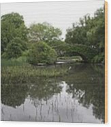 Pond And Bridge Wood Print