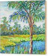 Pond And Palm Wood Print