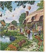Pond Cottage Wood Print
