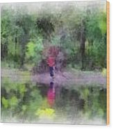 Pond Fishing Photo Art Wood Print